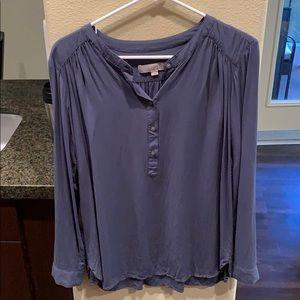 LOFT Blue Long Sleeve Half Button Up Blouse
